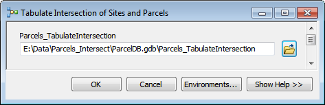 The Tabulate Intersection of Sites and Parcels tool dialog.