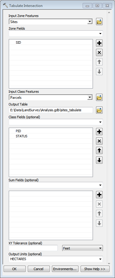 Tabulate Intersection Dialog