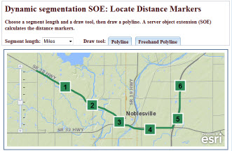 Example web app for placing distance markers along a line