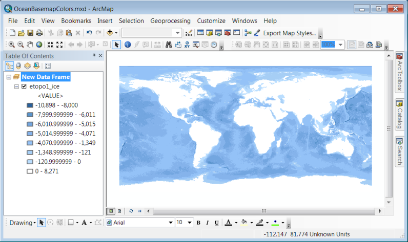Ocean Basemap color style - ArcMap - Classified Renderer