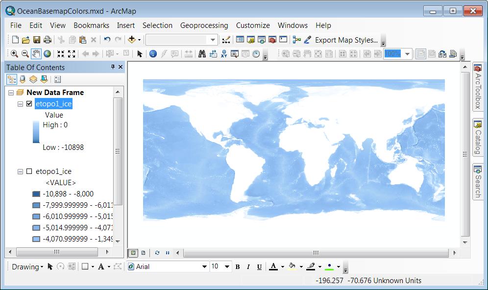 Ocean Basemap color style - ArcMap - Stretched Renderer