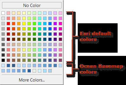 Ocean Basemap color style - Color Palette