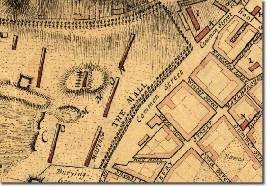 Excerpt from Thomas Hyde Page's map of Boston in 1775/1776, it was published in London in 1777