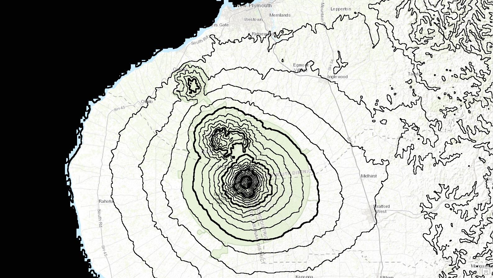 Taranaki contour map