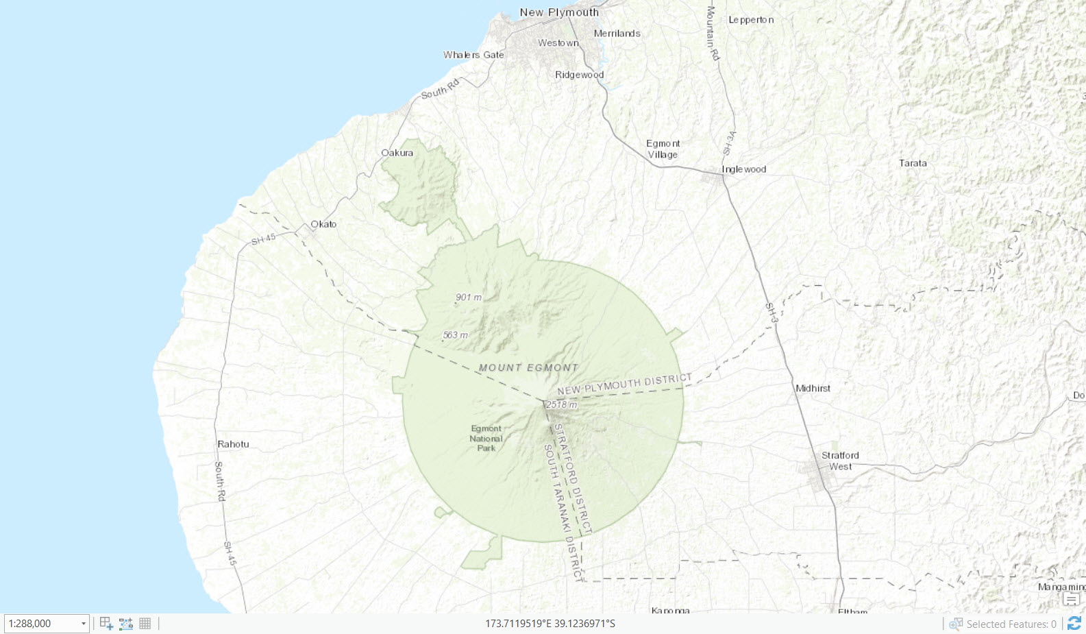 Taranaki topographic map