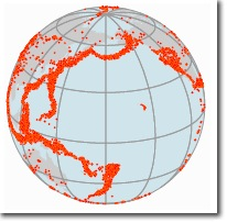World with orthographic projected coordinate system showing earthquakes
