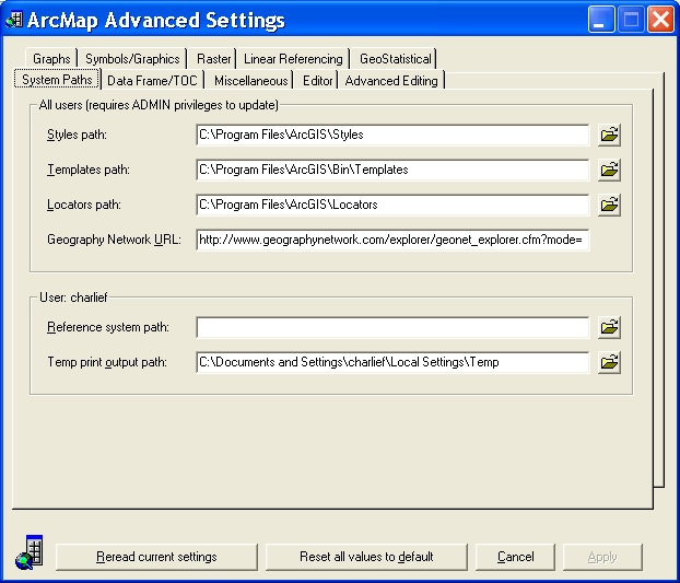 Image of ArcMap Advanced Setting Utility