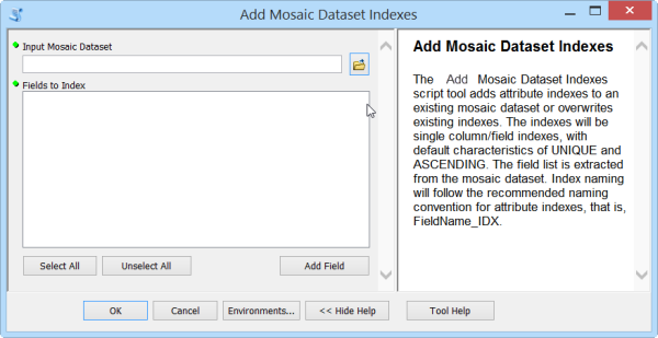 Add Mosaic Dataset Indexes tool
