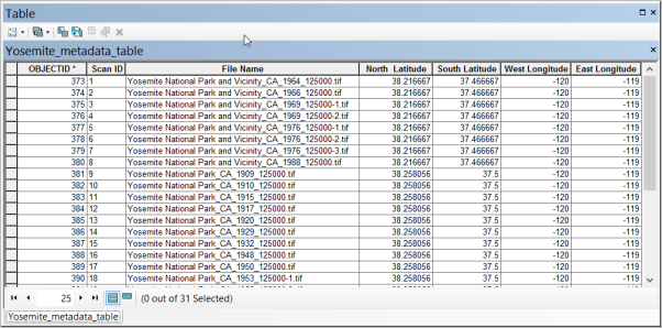 Metadata table example