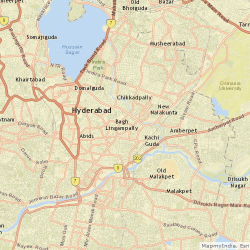 Road network in Hyderabad at ~1:72k