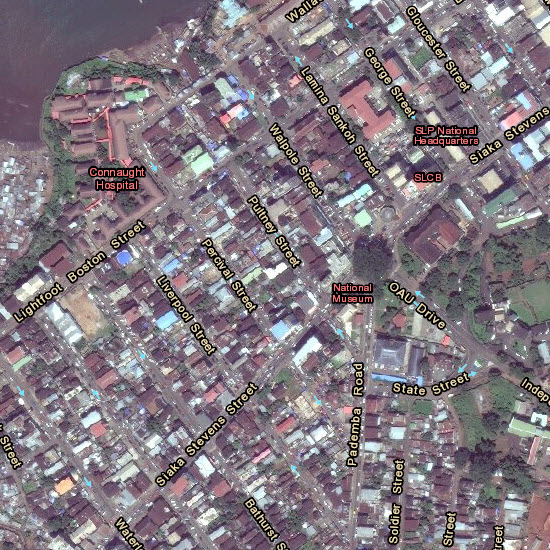 Boundaries & Places and Transportation reference overlays with imagery for Freetown, Sierra Leone (~1:4k)