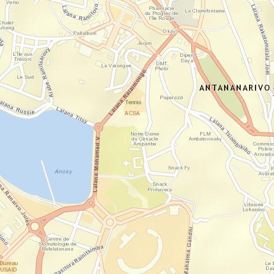 Street Map detail of the capital city of Antananarivo, Madagascar (~1:2k)