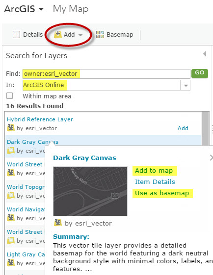 Add to ArcGIS Online dialog