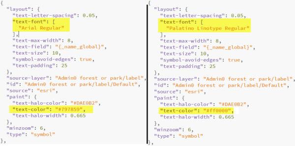 Vector basemap font code snippet