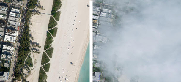Comparison of before and after NAIP imagery for Miami Beach