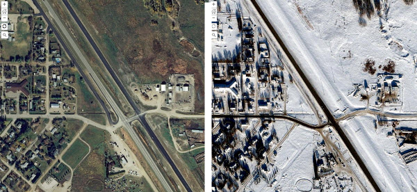 Comparison of before and after NAIP imagery for Elkhorn, Manitoba, Canada
