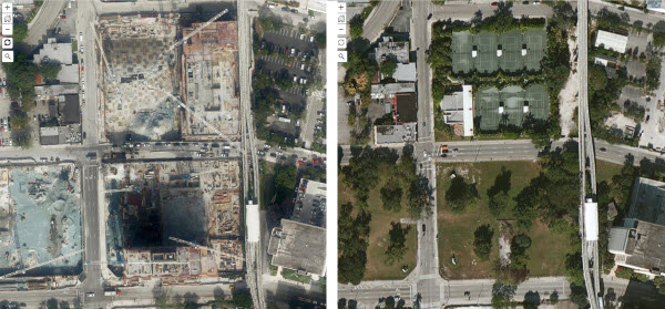 Comparison of before and after NAIP imagery for Brickell City Centre in Miami