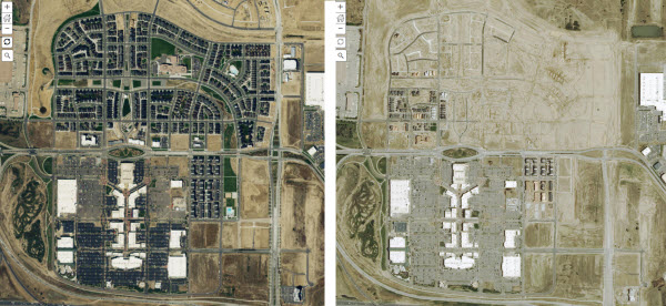 Comparison of before and after NAIP imagery for Stapleton International Airport in Denver