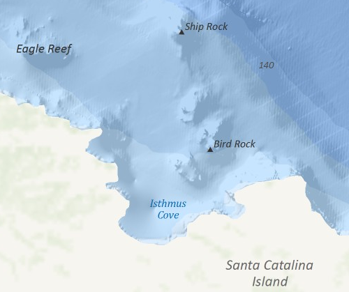 High resolution bathymetric data from NOAA's National Geophysical Data Center along the east coast of Santa Catalina Island in Southern California