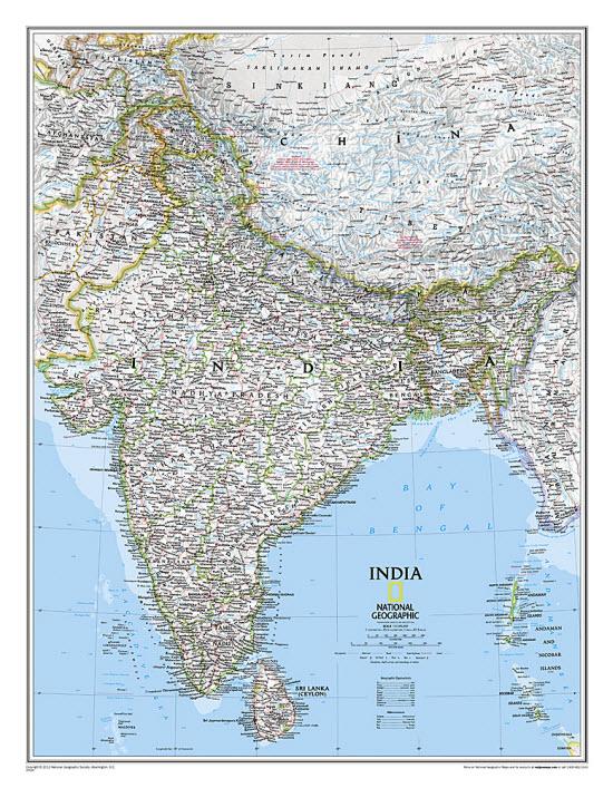 India Classic Wallmap