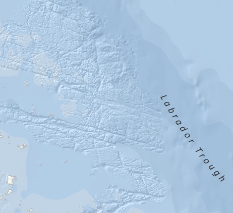 Detailed bathymetry located north along Canada's eastern shore