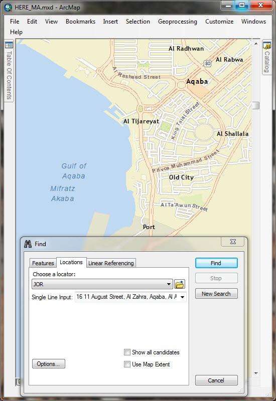 Geocoding Find Tool in Jordan
