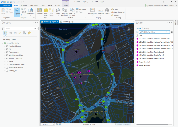 street map night for new york city in arcgis pro