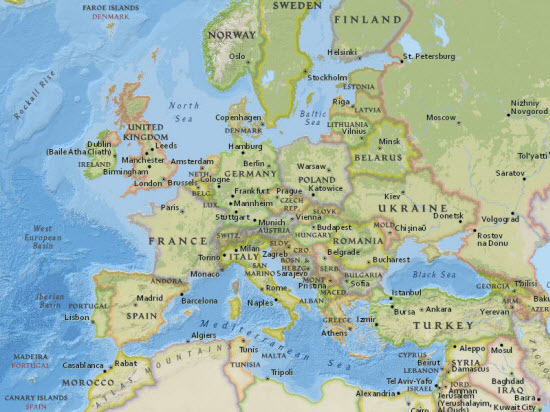 Image of National Geographic World Map showing Europe
