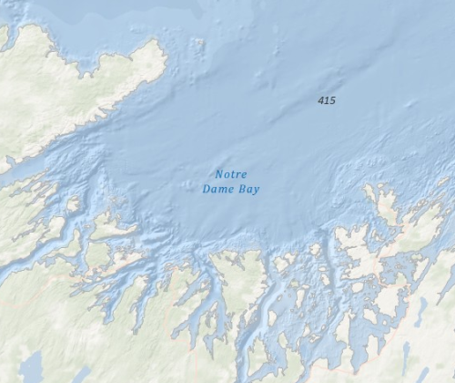 CHS bathymetry in one of Newfoundland's northern bays