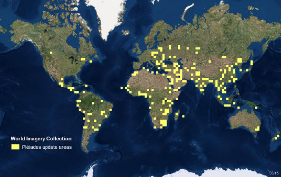 Pleiades Update Areas March 2015