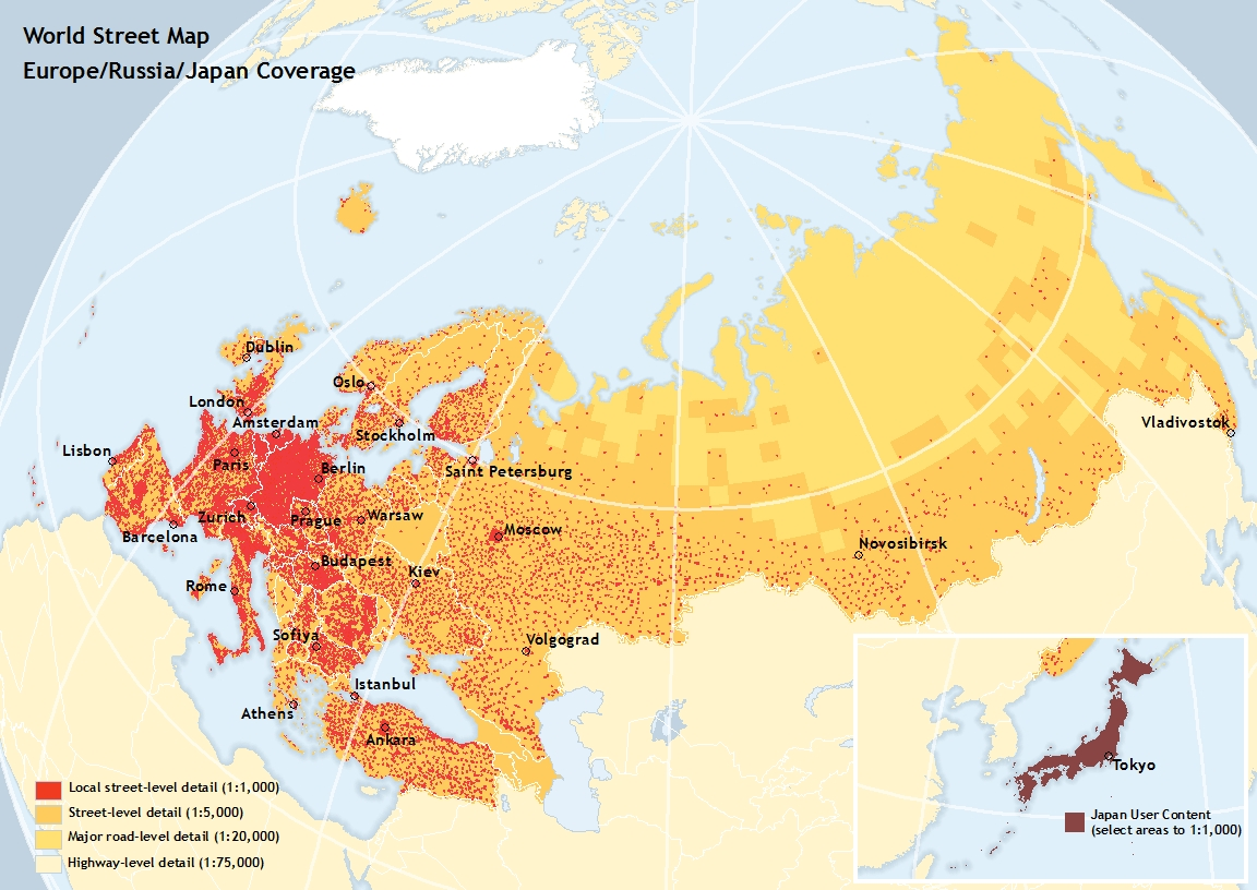 World Street Map Coverage for Europe
