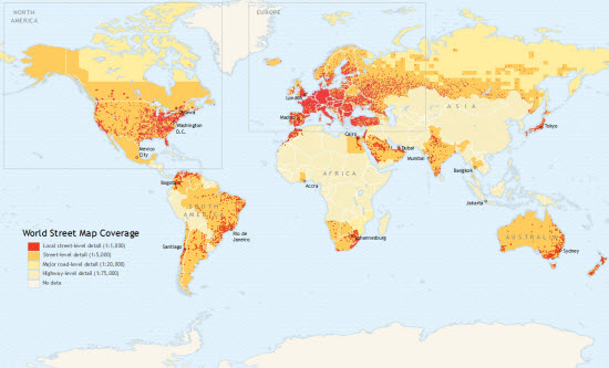 World Street Map Coverage