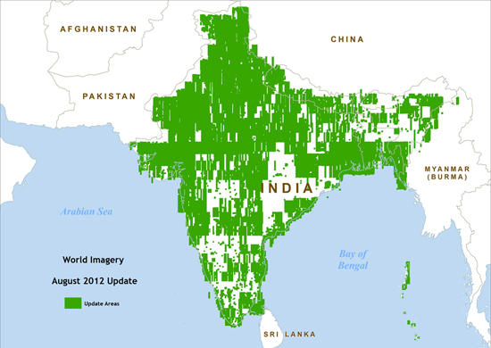 Map of IKONOS imagery update areas in India