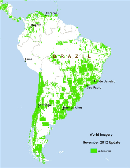 Map of IKONOS imagery update areas in South America