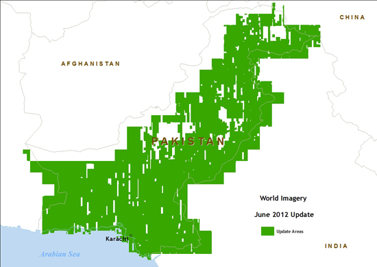 Map of IKONOS imagery update areas in Pakistan