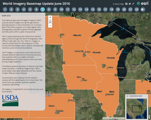 Esri Story Map of the June World Imagery updates