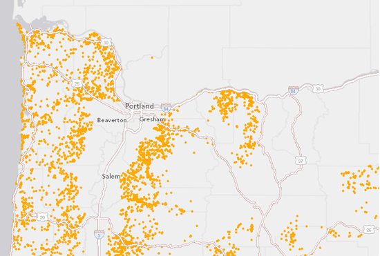 Oregon forest fires overlaying canvas maps