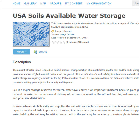 USA Soils Available Water Storage