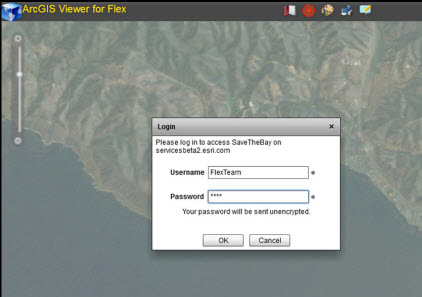 Log in to secured services using the Flex Viewer
