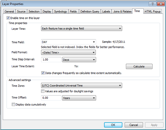Time tab of Layer Properties dialog box