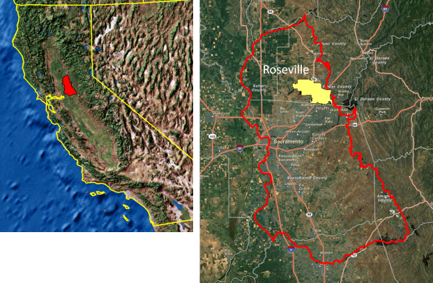 SRM model domain in the Sacramento valley, California.