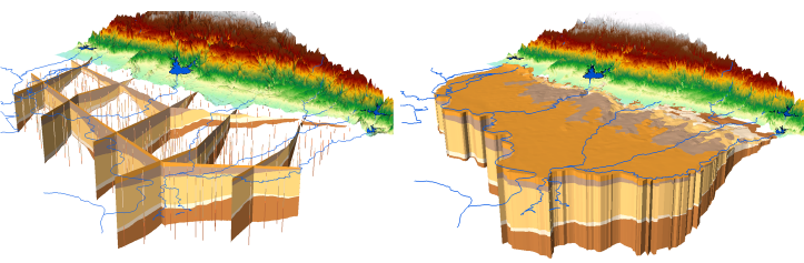 Fence diagram (GeoSections) and volume model (GeoVolumes) created using the AHGW Subsurface Analyst tools.