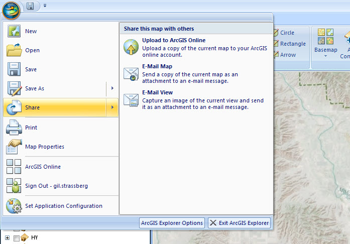 Sharing ArcGIS Explorer maps. You can automatically load the ArcGIS Explorer project to ArcGIS Online for sharing.