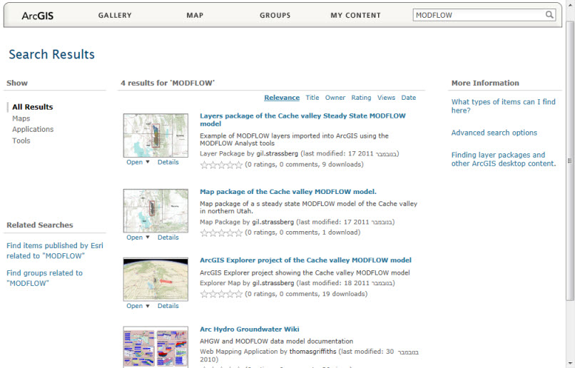 Search results in ArcGIS Online when searching for MODFLOW.