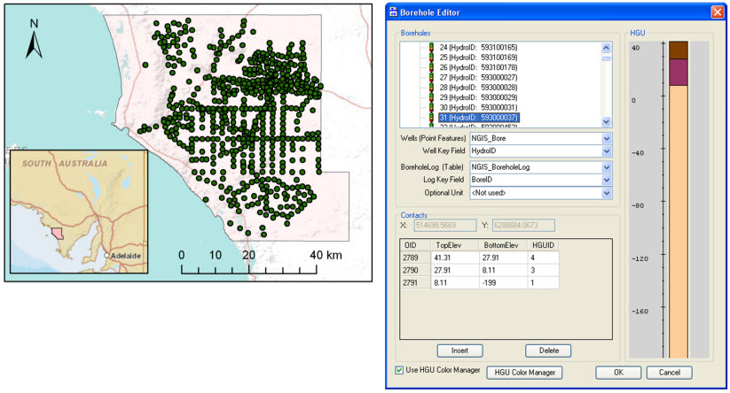 Boreholes in the Musgrave prescribed wells area. Vertical information along the bores is visualized and edited using a borehole editor available in the AHGW tools.