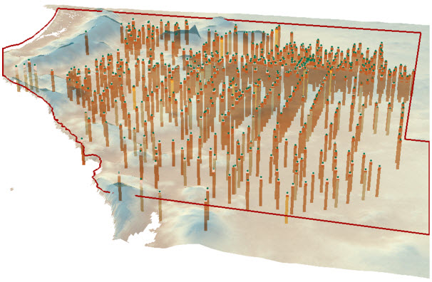 3D BoreLine features representing the stratigraphy along bores in the Musgrave prescribed wells area.