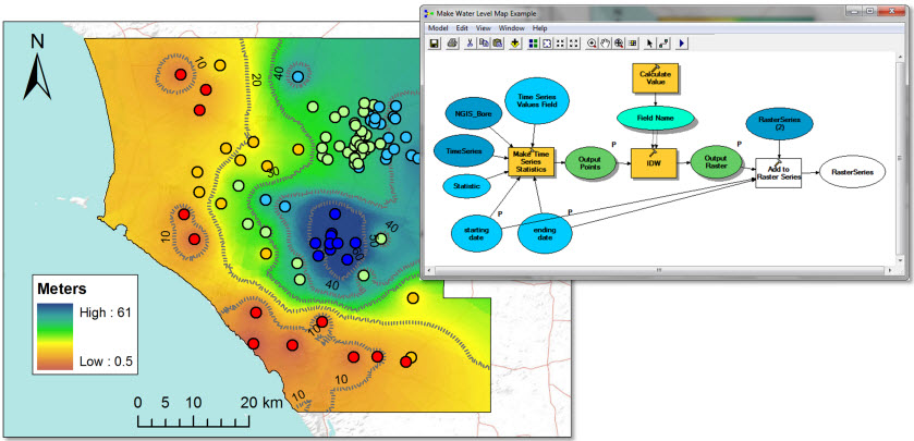 On the right, a model for automating the process of creating water level maps. On the left, a water level map for the Musgrave prescribed well area.
