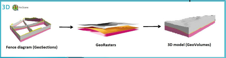 Steps for creating a 3D subsurface model. From right to left: A set of GeoSections forms a fence diagram (these were created by transforming the 2D cross sections to 3D), GeoRasters are interpolated from the bore data and the additional points sampled along the cross sections, and GeoVolumes are created from the GeoRasters.