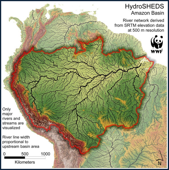 Amazon Basin HydroSHEDS