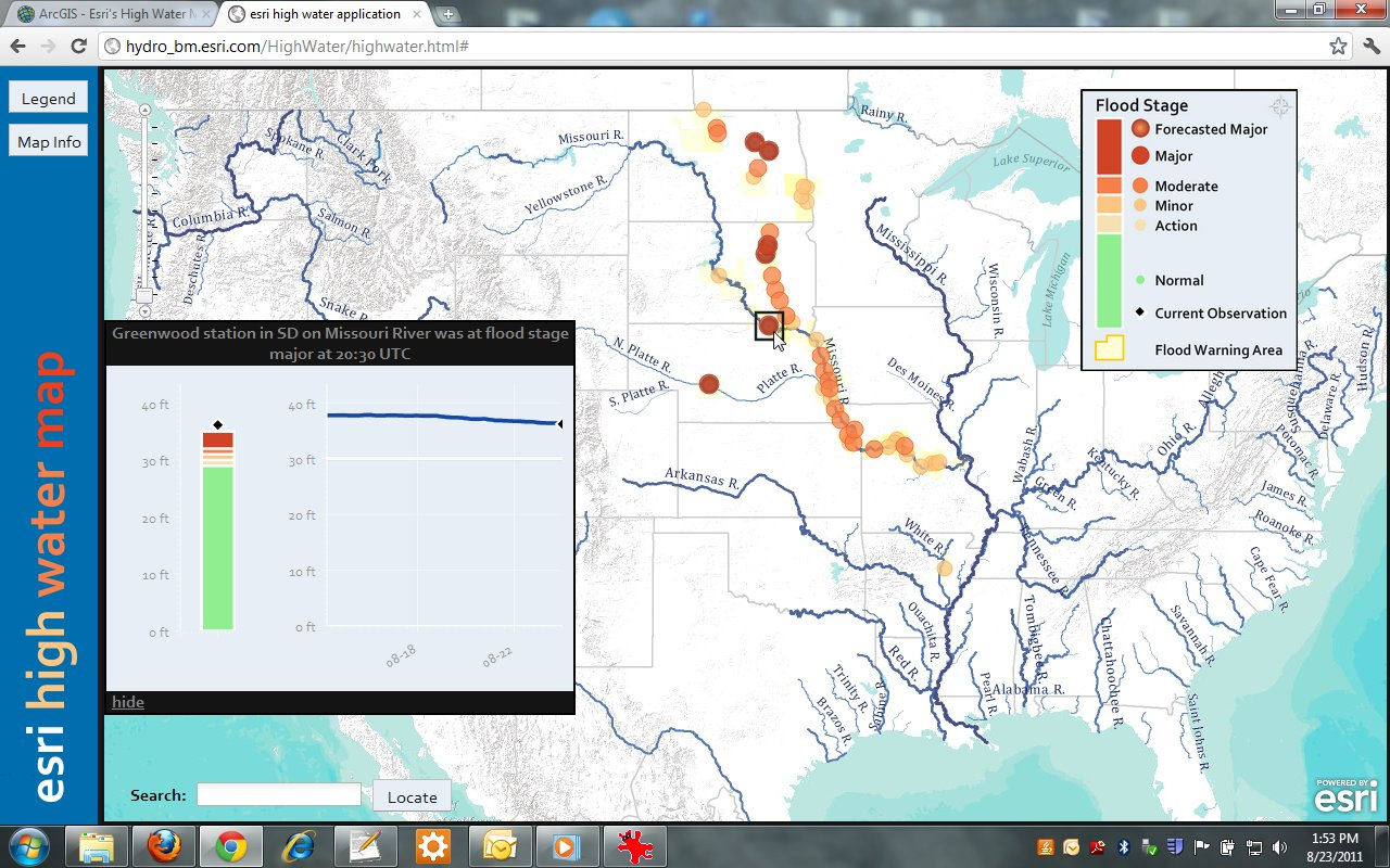 View of esri High Water Map